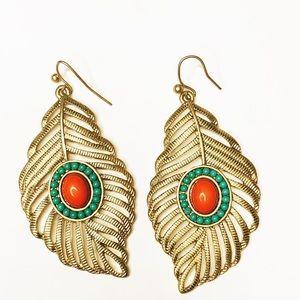 Native inspired Gold Tone Leaf shape Drop Earrings